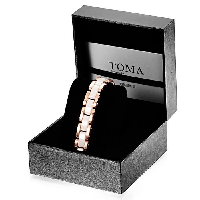 TOMA 11M・11F 男性or女性 白セラミックス 磁気ブレスレット ピンク 保証書付き