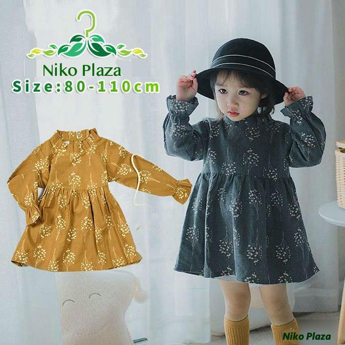 子供服 ワンピース 長袖 花柄 フリル 内祝い 韓国子供服 長袖ワンピース 可愛い キッズ 女の子 マーケット