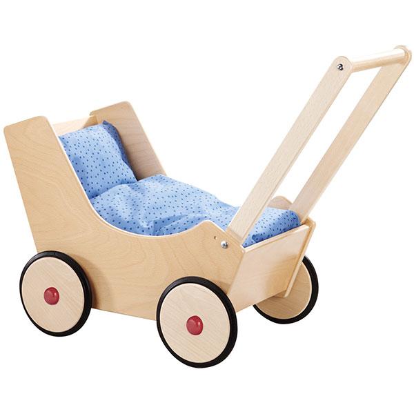 送料無料 手押し車 玩具 誕生日 2歳 3歳 4歳 誕生日 1歳 2歳 3歳プレゼント 出産祝い お人形 HABA 乳母車 白木 木のおもちゃ 木製 子供 ドイツ 男の子 男 女の子 女