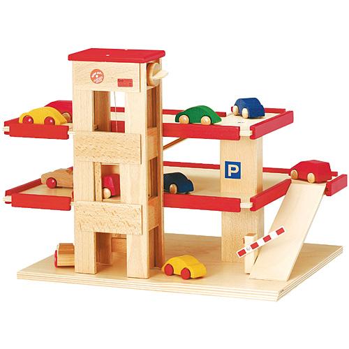 送料無料 木製 レール ベック ロードセット 立体駐車場(リフト付き)赤 木のおもちゃ 電車 レールおもちゃ 子供 ドイツ 誕生日プレゼント 誕生日 男の子 男 出産祝い 3歳 4歳 5歳