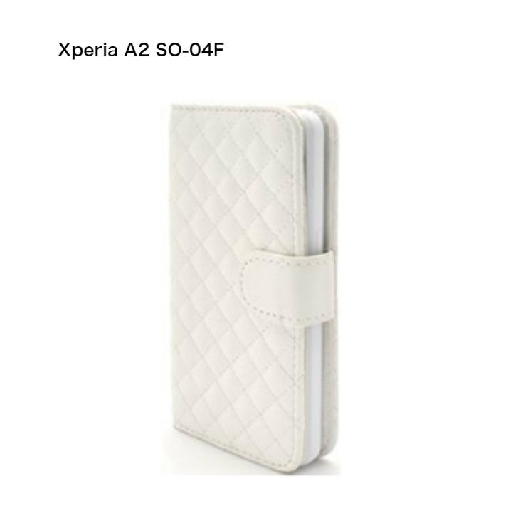 365日発送 RY スマホケース 手帳型 セール メール便送料無料 Xperia SO-04F 買い取り エースツー A2 ホワイト キルティングレザーケース dso04f-57 在庫あり 用