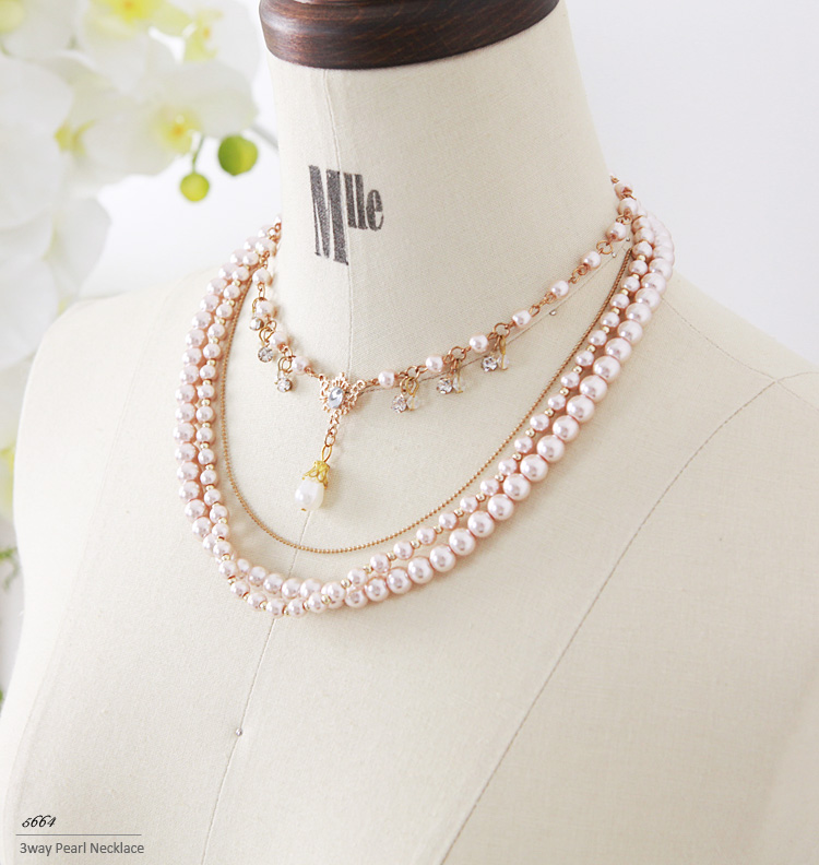Nice necklace can be used in 3-way! Sparkling rhinestone ♪ ロングパールネックレス ☆ 2 colors-