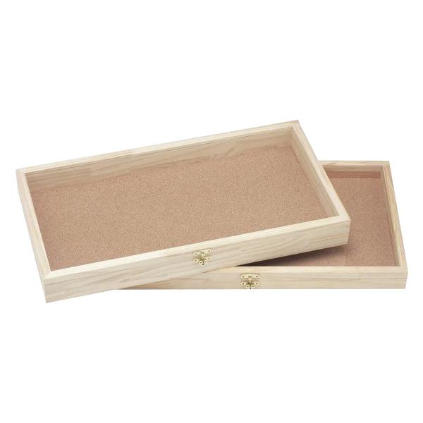 特大アクセサリーケース(無塗装) 深型 #911046 大きな浅め木製ボックス 厚いガラス付き