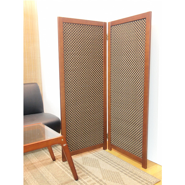 竹すだれ衝立 2連 H1350 SD-7232 和洋で使えるウッドベースの折り畳みパーティション  (選べる選べる生地)