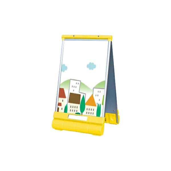 アキュートサインType-A 本体 透明アクリル板付 G-6090-W-Y 両面 畳める コンパクト 立て看板 注水ウェイト付き(選べるカラー)