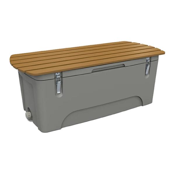 防災グッズ収納ボックス300(ベンチタイプ) BB300B 防災用品を屋外にさりげなく置ける保管箱 ライトグレー