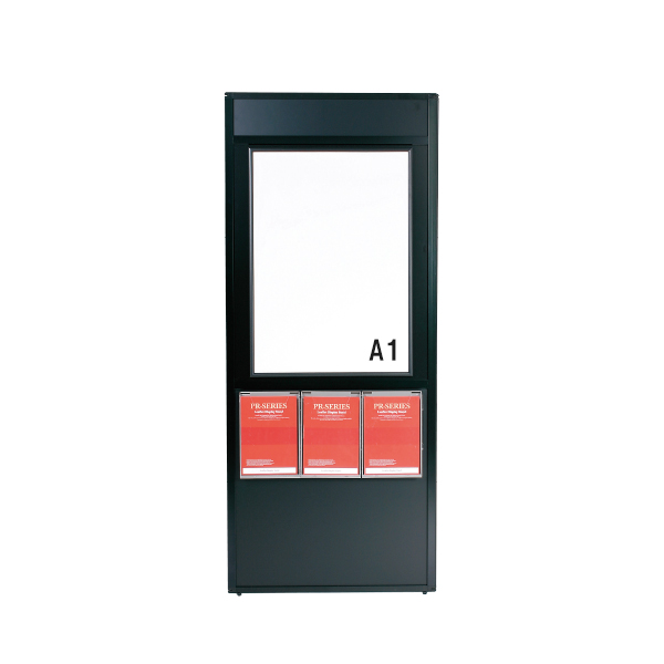 ディスプレイラック(A4判ラック3個付) PRP-A1 屋内 片面 パネル付 個人宅不可 要法人名  (選べるラックカラー)