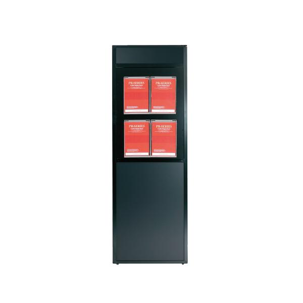 ディスプレイラック(A4判ラック4個付) PRP-022 屋内 片面 個人宅不可 要法人名  (選べるラックカラー)