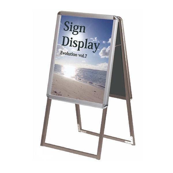 ポスターグリップスタンド看板 屋内用 A2両面 PGSK-A2RS ポスタースタンド A型看板 店舗看板シルバー