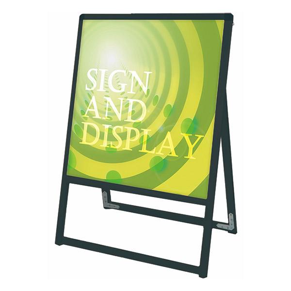 ブラックバリウススタンド看板 アルミ複合板タイプ 450×450片面 BVASKAP-450X450K 屋外対応 A型看板 店舗看板 個人宅配送不可