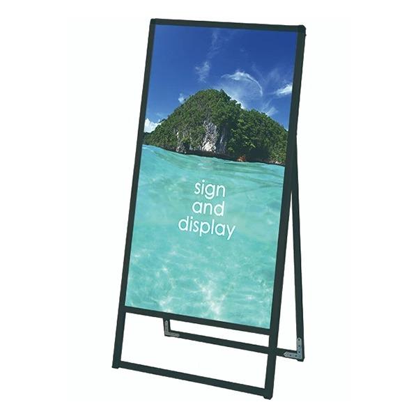 ブラックバリウススタンド看板 アルミ複合板タイプ 600×1200片面 BVASKAP-600X1200K 屋外対応 店舗看板 個人宅配送不可
