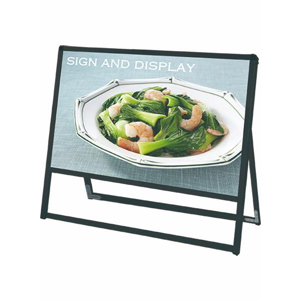 ブラックバリウススタンド看板 アルミ複合板タイプ 900×450片面 BVASKAP-900X450K 屋外対応 A型看板 店舗看板 個人宅配送不可
