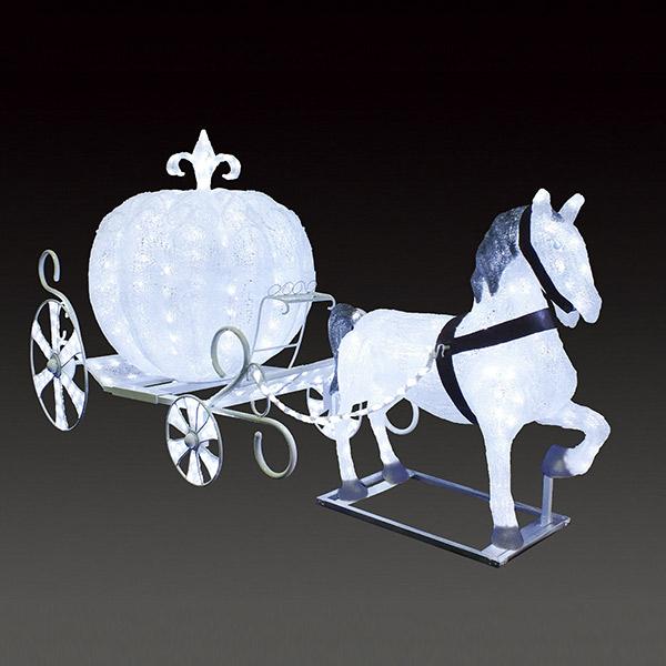 LEDクリスタルグロー 白馬の馬車(小) ACR-BAA-WS 組立式 連結不可 常時点灯 グロー色付き 防雨仕様 24V 【要在庫確認】