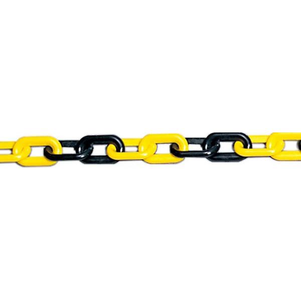 プラスチックチェーン 10m 871-246 バリケード パーテーション コーン サイン 黄/黒