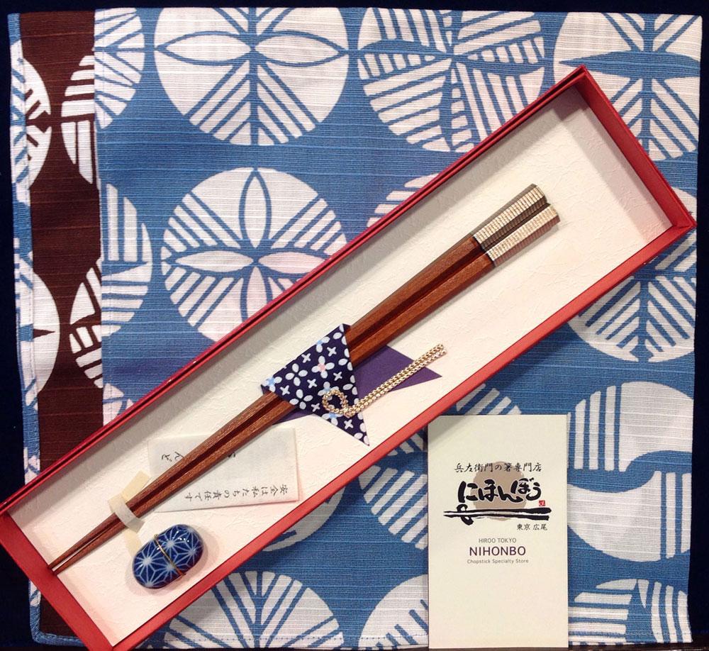 すりうるし金糸 箸置き付き 和紙ギフトボックス 風呂敷ラッピング 簡単名入れ ×4セット
