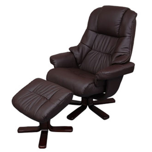 \クーポンで2,898円引き/ パーソナルチェア オフィスチェア 椅子 リクライニングチェア いす イス 合皮 ハイボリュームチェア ブラウン おしゃれ