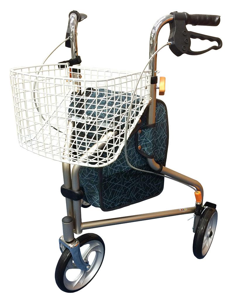 【インタージェット】街乗り トライウォーカー シャンパンゴールド三輪歩行車/歩行器/シルバーカー/ショッピング/外出/男性/高齢者/お年寄り