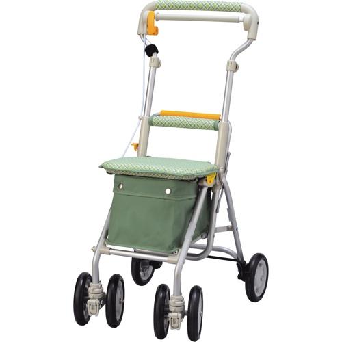 【ウィズワン】ライトミニGN(チェックグリーン)象印 シルバーカー 歩行車 押し車 介護用品 お年寄り 高齢者