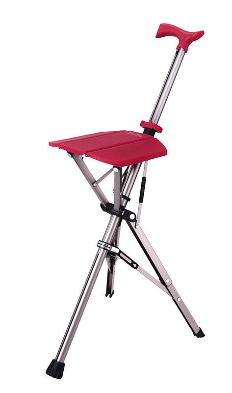 【アロン化成】Ta-Daチェア<ターダチェア>(ローズレッド)杖/イス/座れる/ステッキチェア/折りたたみ椅子/軽量/シニア/カープ/赤/介護/お年寄り/高齢者