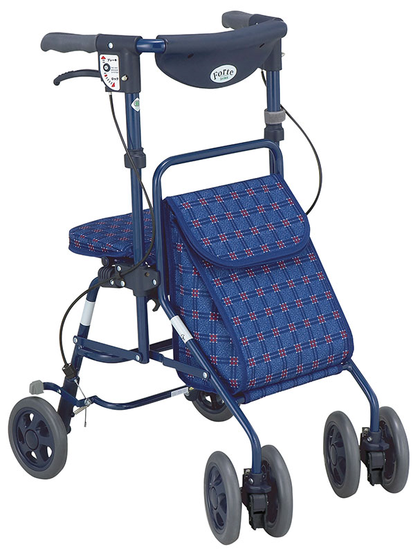 【島製作所】フォルテ 二筋格子ブルーシルバーカー 歩行車 押し車 介護用品 お年寄り 高齢者