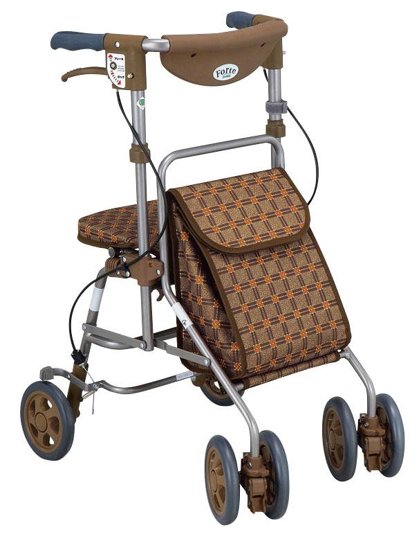 【島製作所】フォルテ 二筋格子ブラウンシルバーカー/歩行車/押し車/介護用品/お年寄り/高齢者
