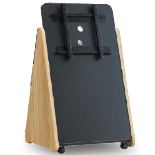 木製サイネージスタンド32-50インチ対応トライアングルスタンド ナチュラルSS-TRI11-NA12 朝日木材加工