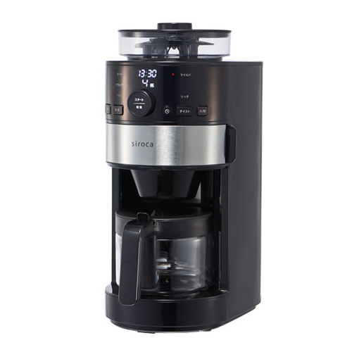 シロカ コーヒーメーカー おしゃれ ブラック 黒 挽きたて 淹れたて 淹れ立て 自宅 家庭 タイマー予約機能 コーヒーメーカー 全自動 おすすめ 本格ミル コーヒーマシン 全自動コーヒーメーカー SCC111 コーヒーミル内臓 タイマー予約機能 豆から挽きたてコーヒー 送料無料