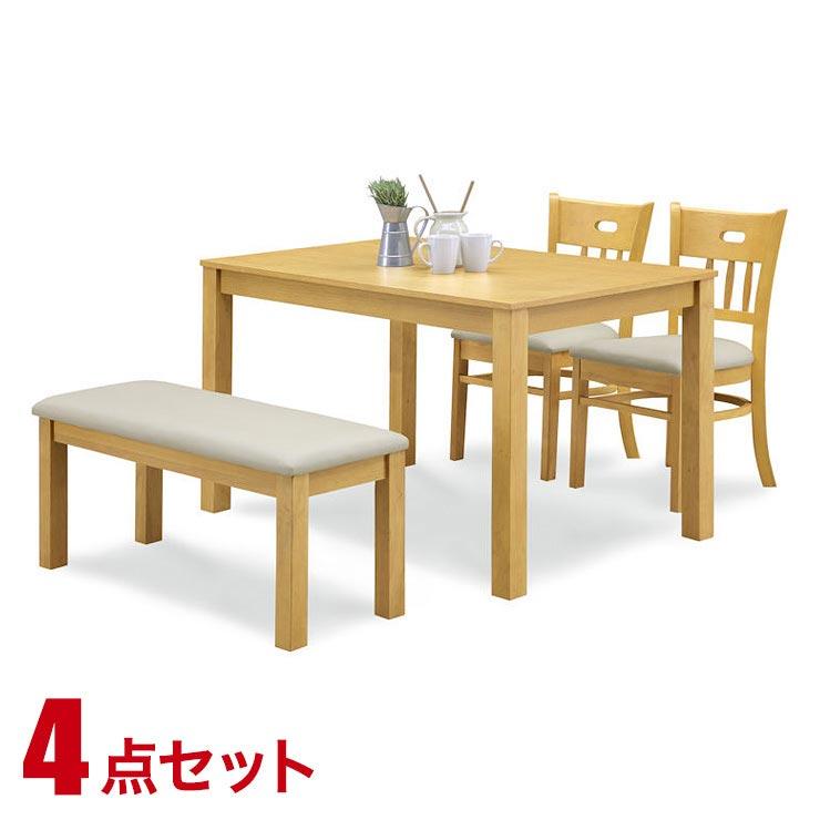 ダイニングテーブルセット 4人掛け ナチュラル プチ贅沢な天然杢オーク材 シンプル 4点セット エレナ 幅115cmテーブル 椅子2脚 ベンチ1脚 完成品 輸入品 送料無料
