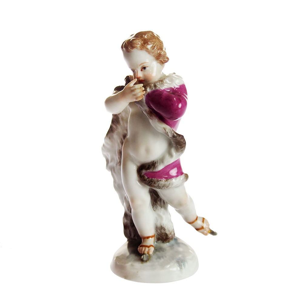 アンティークマイセン (Meissen)フィギュリン スケートをする子供1800年頃【店頭併売品のため完売の場合がございます】【増税前FINALSALE】