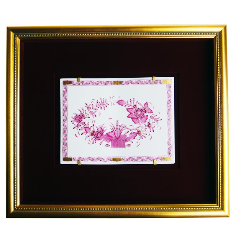ヘレンド (HEREND) 額装陶画 インドの華 ピンク FP SP 689