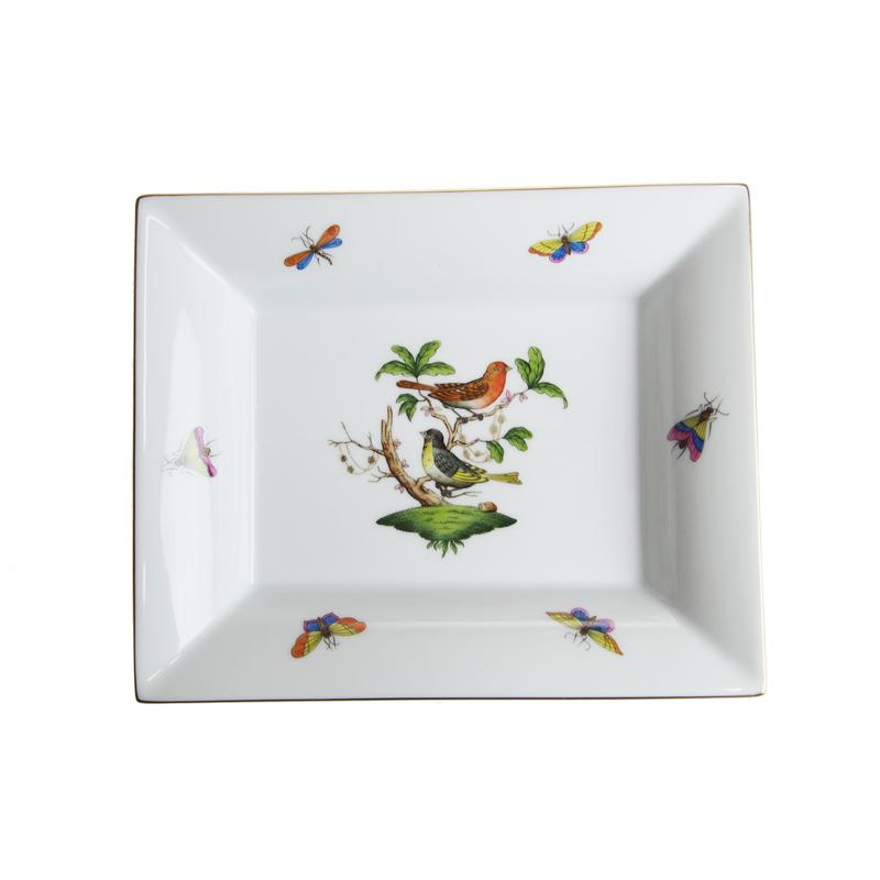 ヘレンド (HEREND) RO ロスチャイルドバード トレイ 16x19cm 7631【※鳥の絵柄が異なる場合がございます※】【あす楽対応】