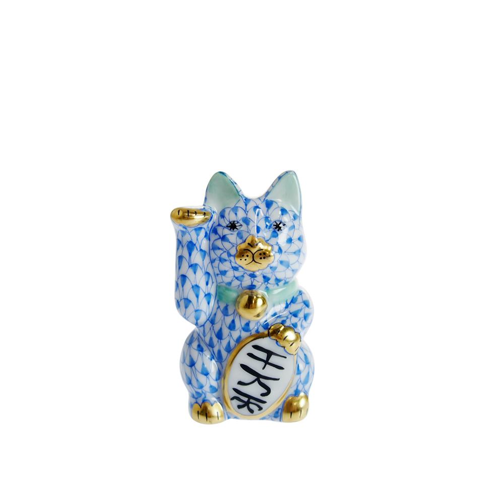 ヘレンド (HEREND) 人形 VHB15579 招き猫 千万両 ブルー(小) 【あす楽対応】