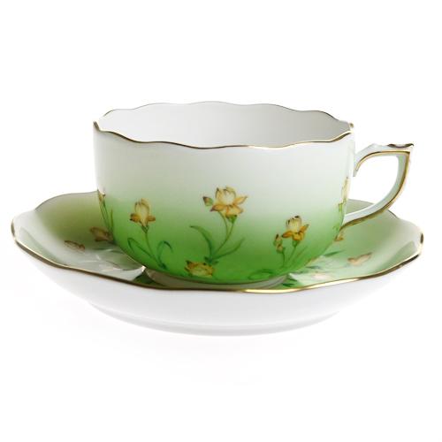 ヘレンド (HEREND) IRIS-V アイリスグリーン ティーカップ&ソーサー 20724
