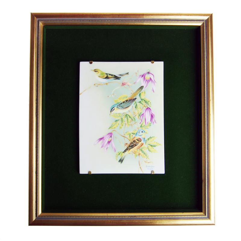 ヘレンド (HEREND) 額装陶画 08112 BIRDS-3 20cmx15cm