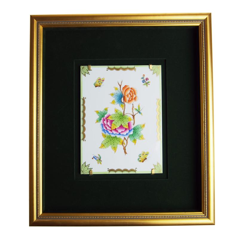 ヘレンド (HEREND) 額装陶画 VBO ヴィクトリアブーケ 08112-0-00 SP607 20cmx15cm