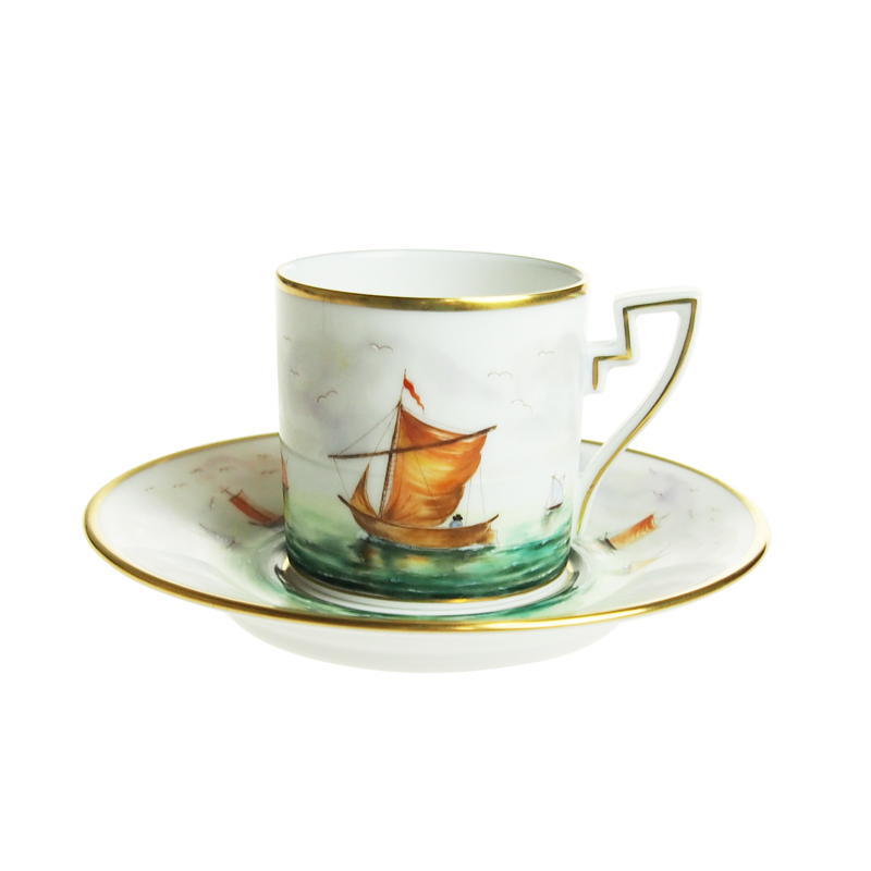 ヘレンド (HEREND) VIT -誇り高き帆船の航海- コーヒーカップ&ソーサー 2759