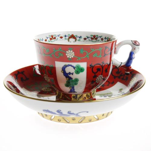 ヘレンド (HEREND) シノワズリ G ゲデレ 西安の赤 ティーカップ&ソーサー マンダリン 3364
