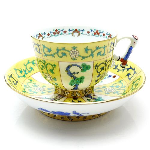 ヘレンド (HEREND) シノワズリ SJ 西安 黄色 ラージカップ&ソーサーマンダリン 3364【あす楽対応】