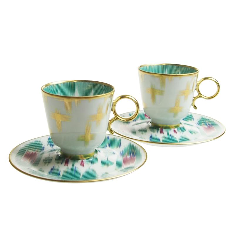 エルメス (HERMES) ヴォヤージュアンイカット コーヒーカップ&ソーサー ペア 036017P2