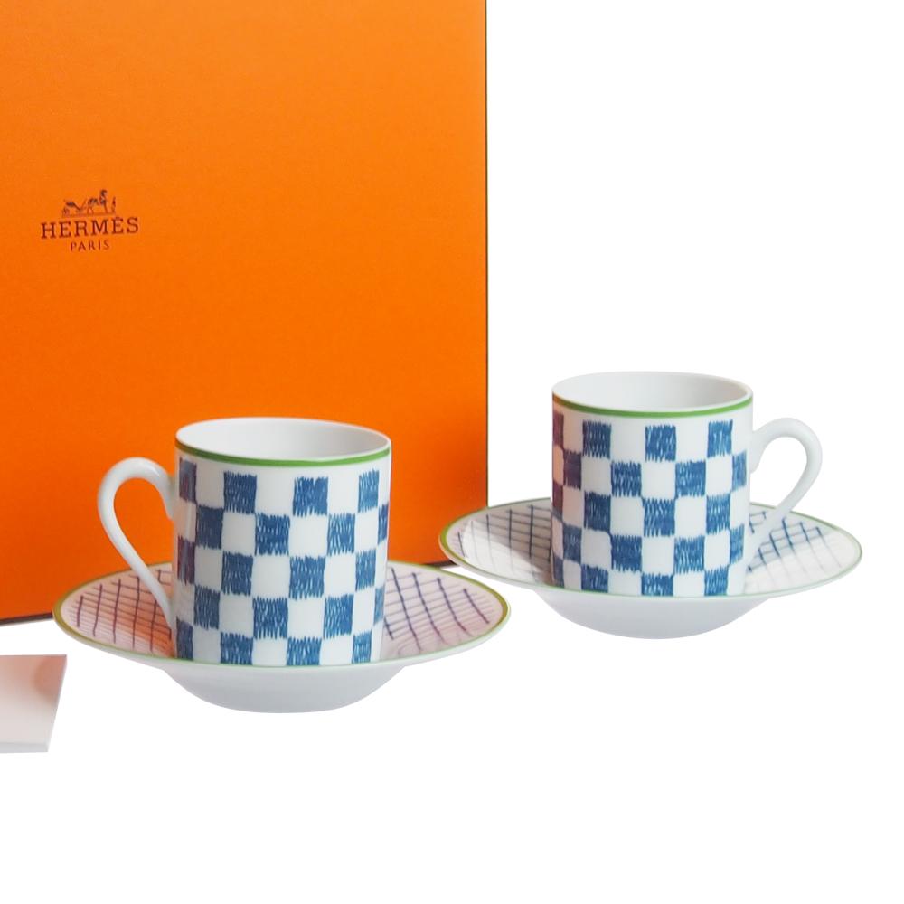 エルメス (HERMES) ウォーク・イン・ザ・ガーデン コーヒーカップ&ソーサー ブルー ペア 043017P2