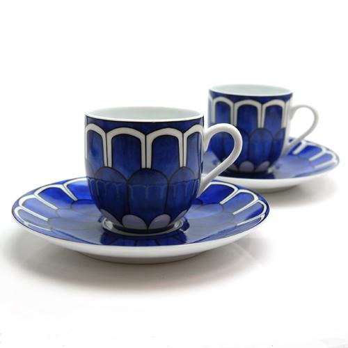 エルメス (HERMES) ブルーダイユール コーヒーカップ&ソーサー ペア 30017P2