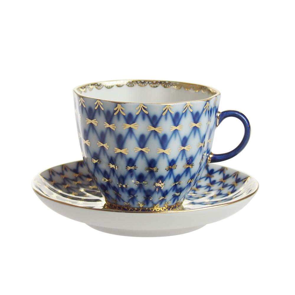 インペリアルポーセリン コバルトネット コーヒーカップ&ソーサー 140ml