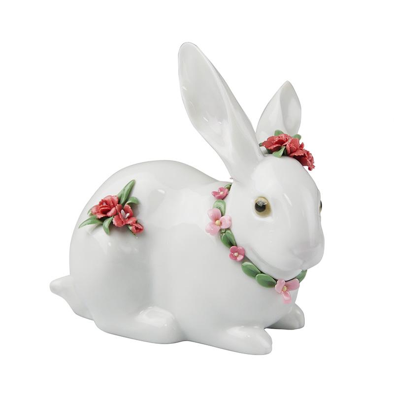 リヤドロ (LLADRO) 人形 花飾りの白うさぎ カーネーション 7578