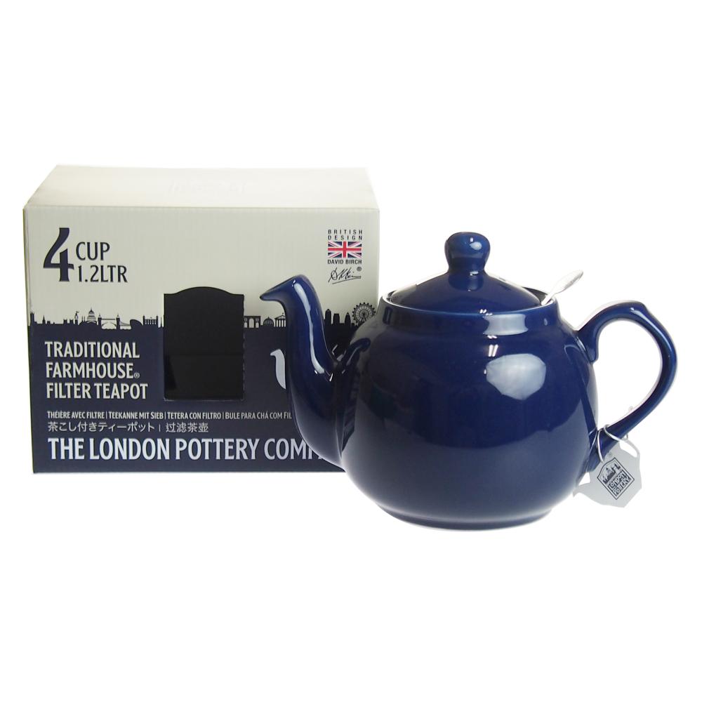 ロンドンポタリー (London Pottery) ファームハウス ティーポット コバルトブルー 4cup