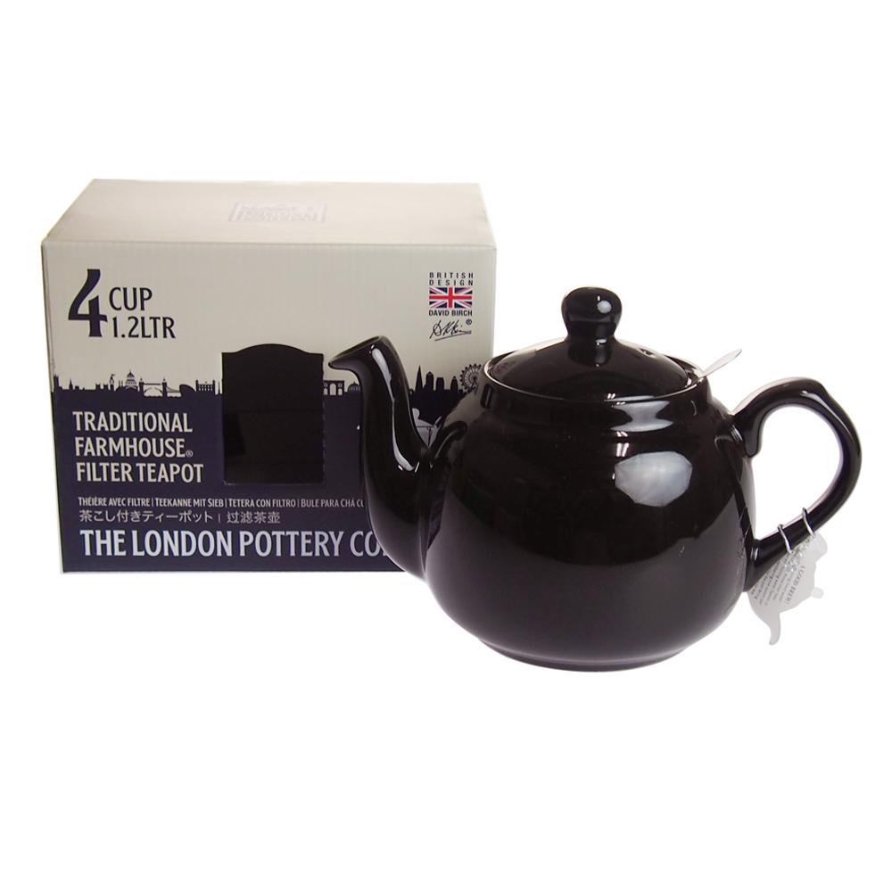 ロンドンポタリー (London Pottery) ファームハウス ティーポット グロスブラック 4cup