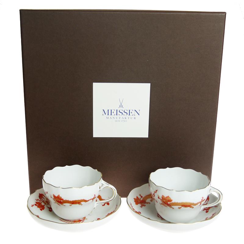 マイセン (Meissen) 宮廷ドラゴン レッド コーヒー カップ&ソーサー ペア c0004