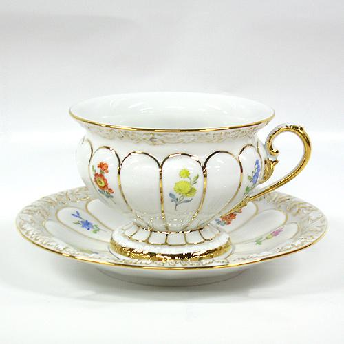 マイセン (Meissen) 金彩小花 ホワイト[010198] ティーカップ&ソーサー 17582