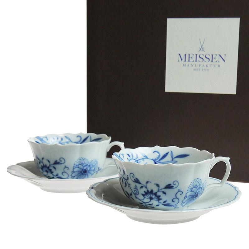 マイセン (Meissen) ブルーオニオン スタイル ティーカップ&ソーサー ペア c0007