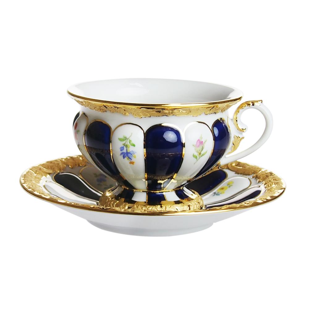 マイセン (Meissen) 金彩小花 ブルー ティーカップ&ソーサー 011079/17582