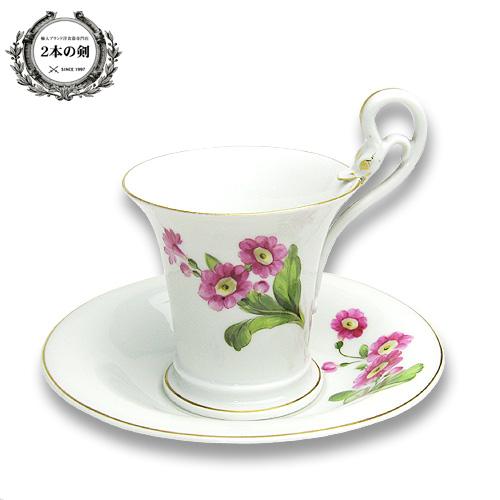 マイセン (Meissen) アンティーク 花模様 ハイハンドルカップ&ソーサー No.116 【19世紀後半の製造】